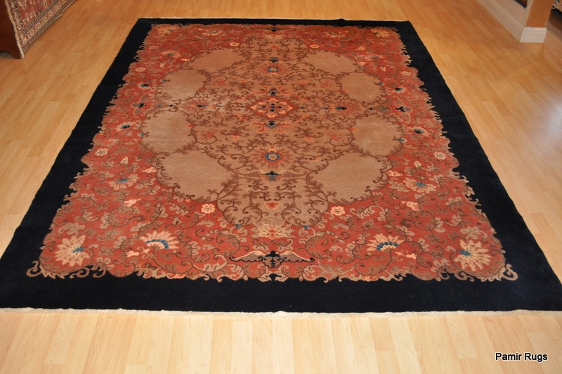 Antique Chinese rug with Birds and butterfly motives