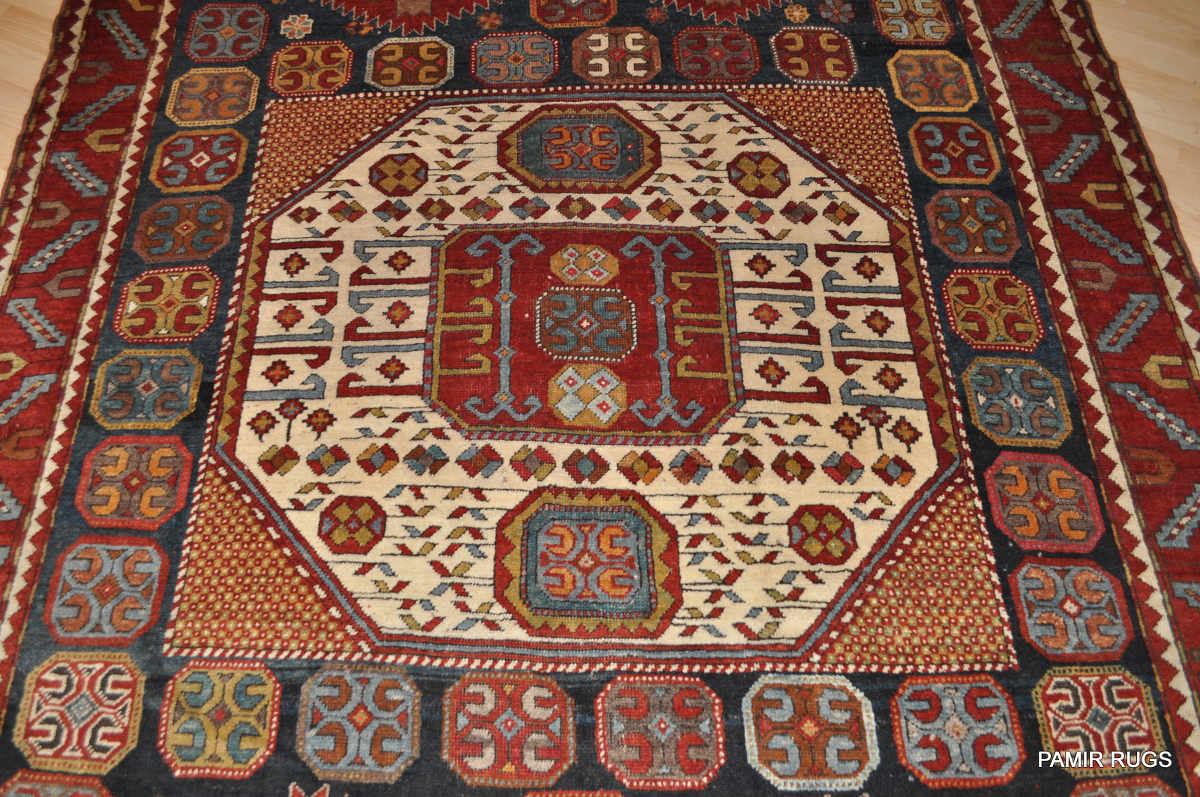Antique Large Caucasian Karacopt Kazak Rug