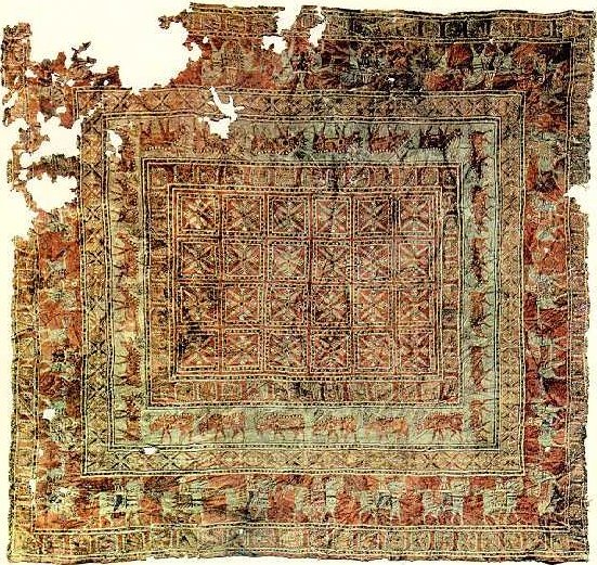 The Pazyryk Carpet, the oldest known surviving carpet in the world